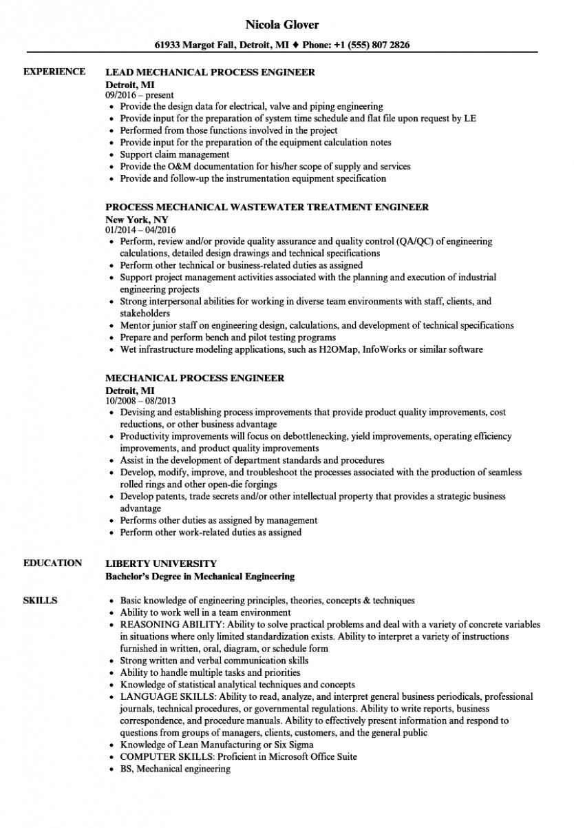 course of engineer resume process engineering mechanical retail examples university Resume Liberty University Resume Template