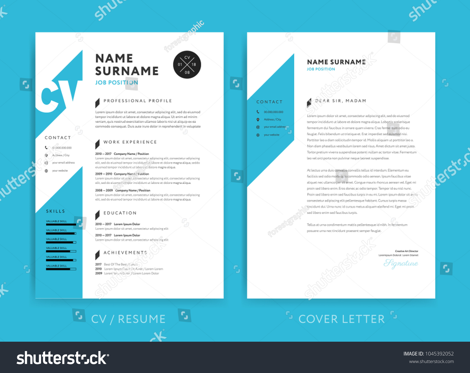 creative cv resume template blue background stock vector royalty free color minimalist Resume Resume Picture Background Color