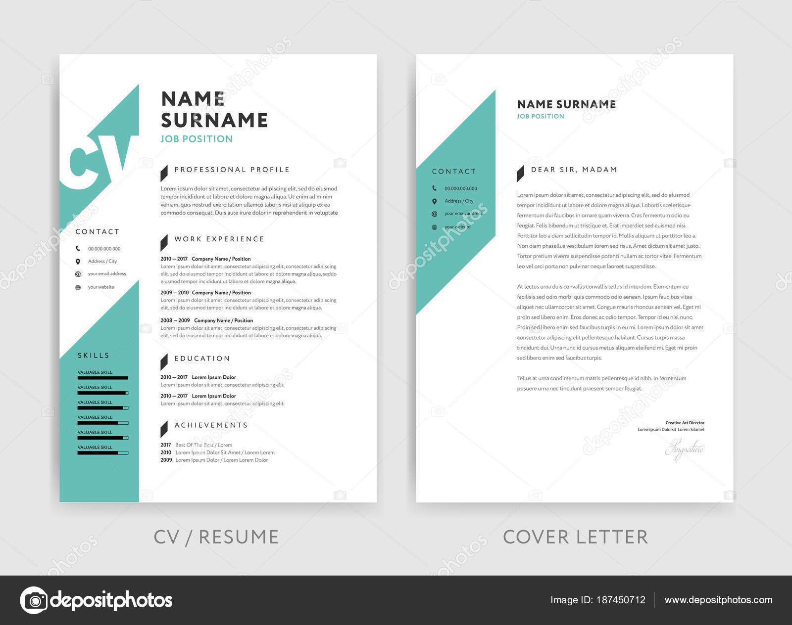 creative cv resume template teal background color minima stock vector forestgraphic Resume Resume Picture Background Color