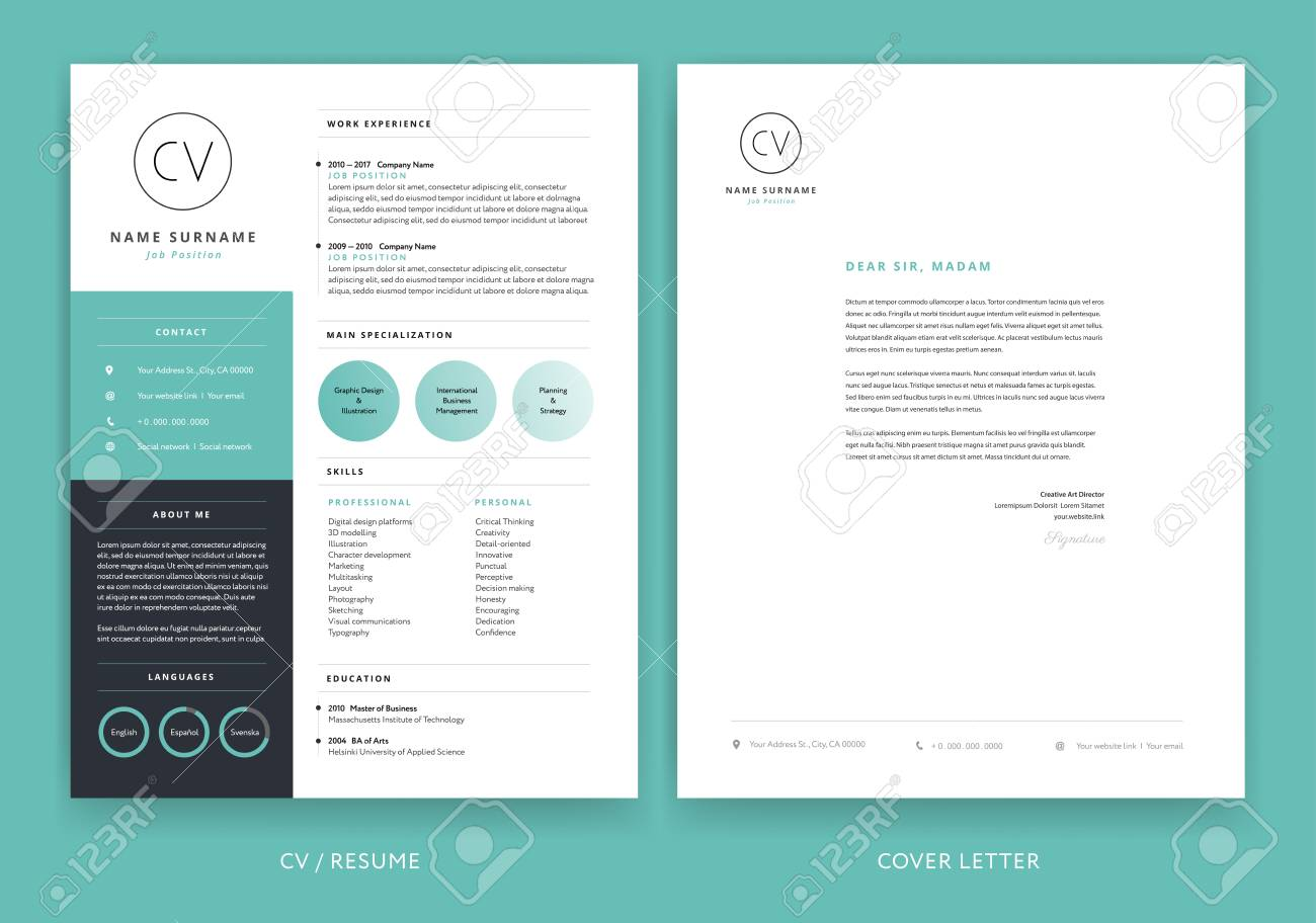 creative cv resume template teal background color minimalist royalty free vectors and Resume Resume Picture Background Color