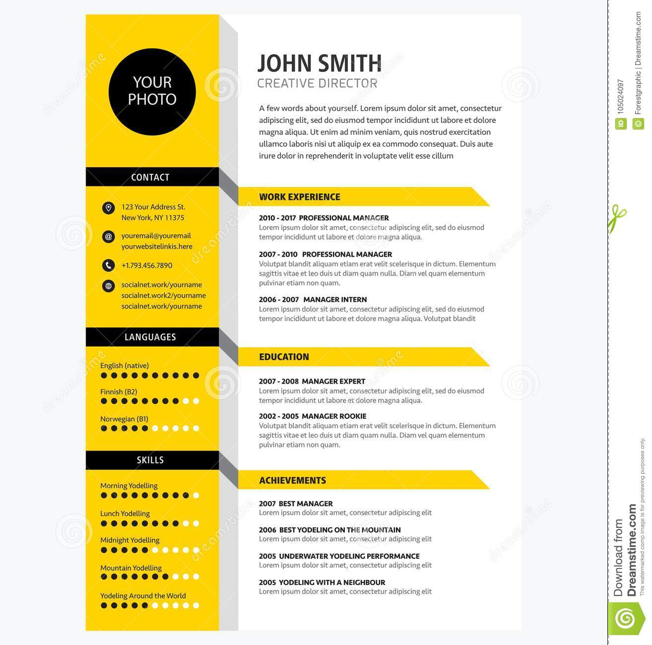 creative cv resume template yellow color minimalist vector stock illustration of company Resume Resume Picture Background Color