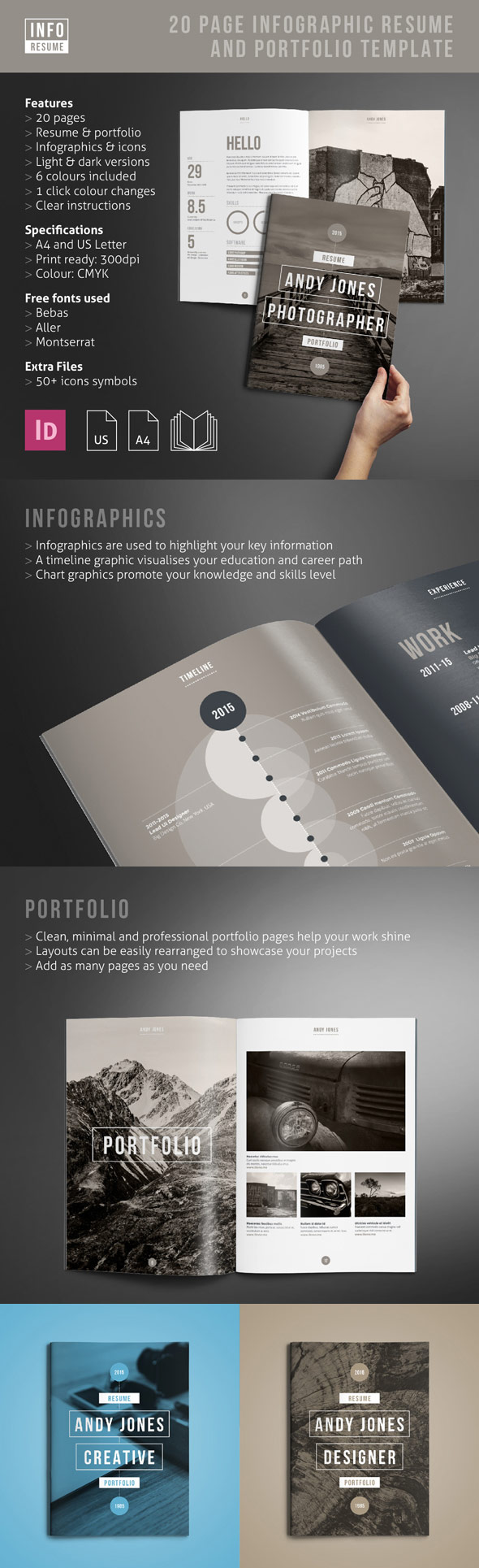 creative dynamic resume cv templates for professional jobs in portfolio infographic set Resume Professional Resume Portfolio