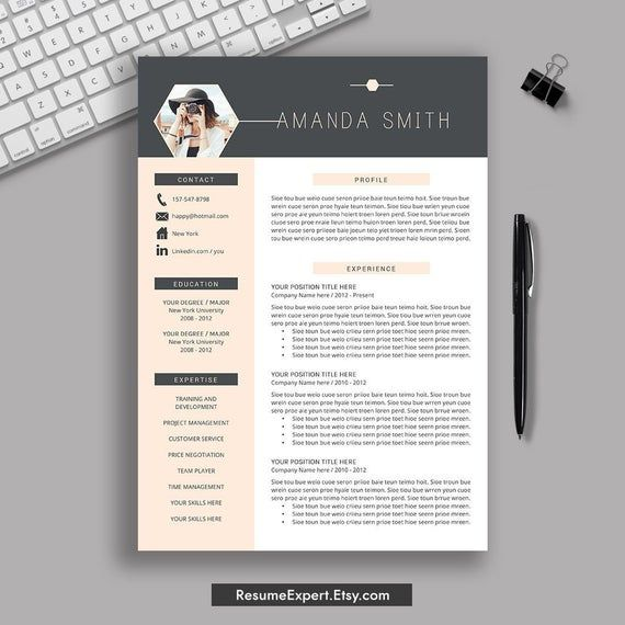 creative resume template word cv cover letter professional modern teacher instant Resume Resume Template Download 2020