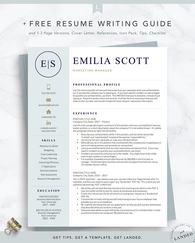 creative stylish resume template for word and the emilia get landed rn free Resume Rn Resume Template Free