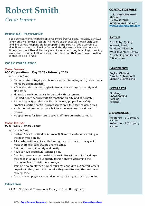 crew trainer resume samples qwikresume mcdonalds member job description for pdf technical Resume Mcdonalds Crew Member Job Description For Resume
