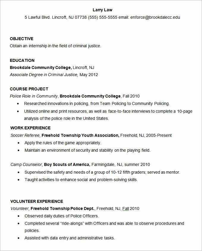 criminal justice resume examples inspirational templates free samples for graduate school Resume Criminal Justice Resume Objective