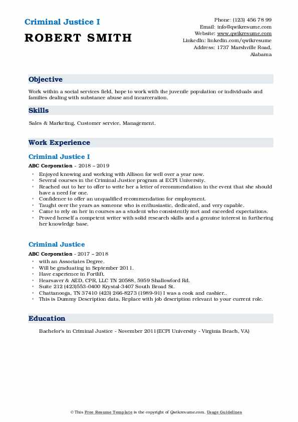 criminal justice resume samples qwikresume objective pdf project manager executive Resume Criminal Justice Resume Objective