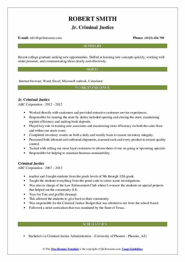 criminal justice resume samples qwikresume sample for recent college graduate pdf lawyer Resume Sample Resume For Recent College Graduate Criminal Justice