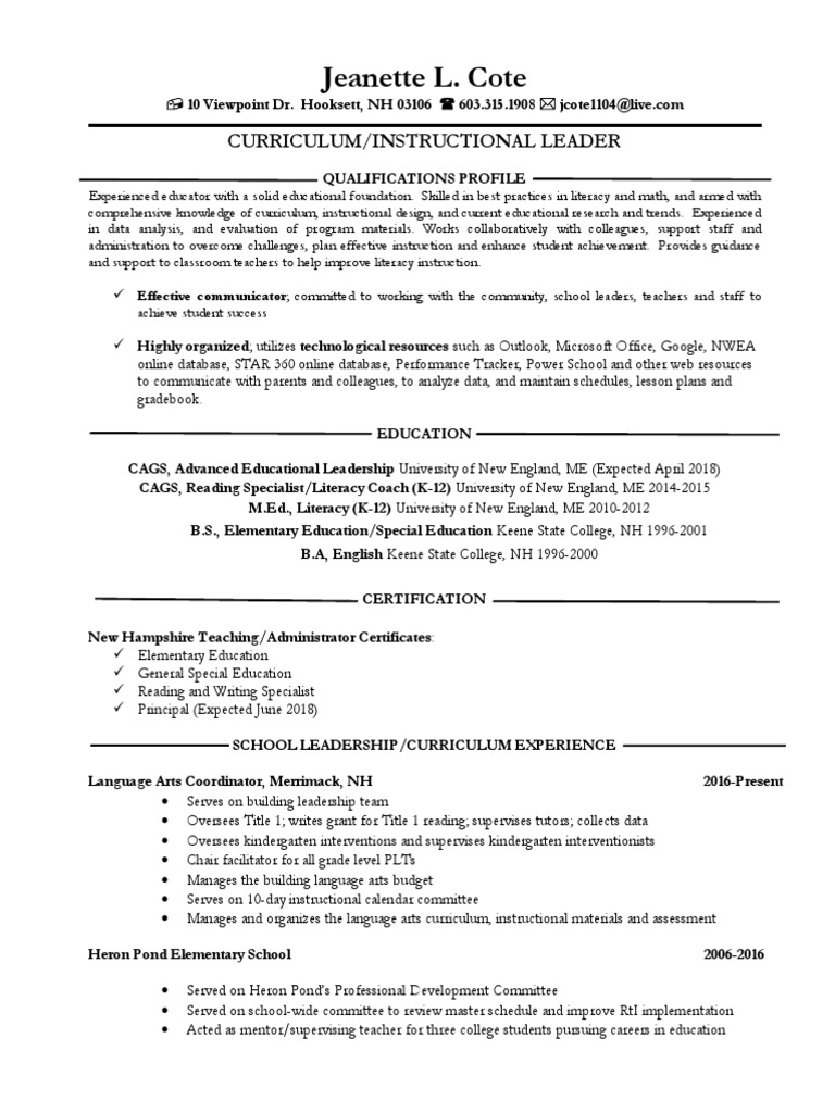 curriculum leader resume teachers educational leadership with cucumber experience writter Resume Educational Leadership Resume