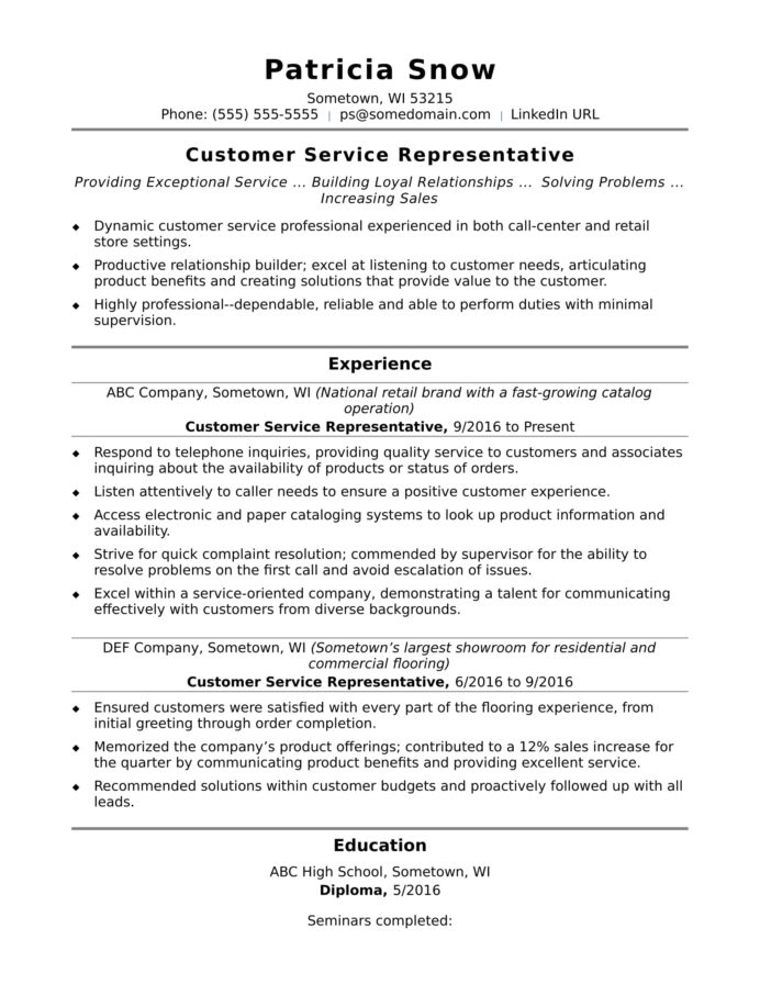 customer service representative resume sample monster summary entry level materials Resume Customer Service Representative Resume Summary