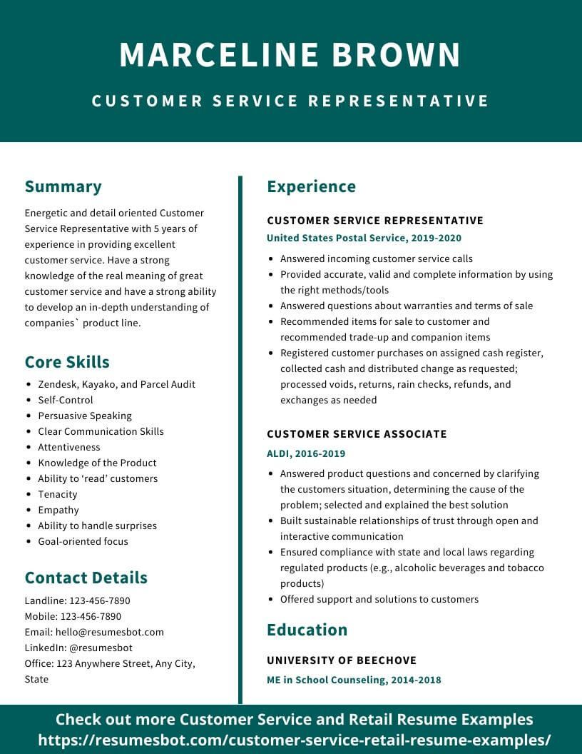 customer service resume samples and tips pdf resumes bot examples retail sample for aldi Resume Sample Resume For Aldi Retail Assistant