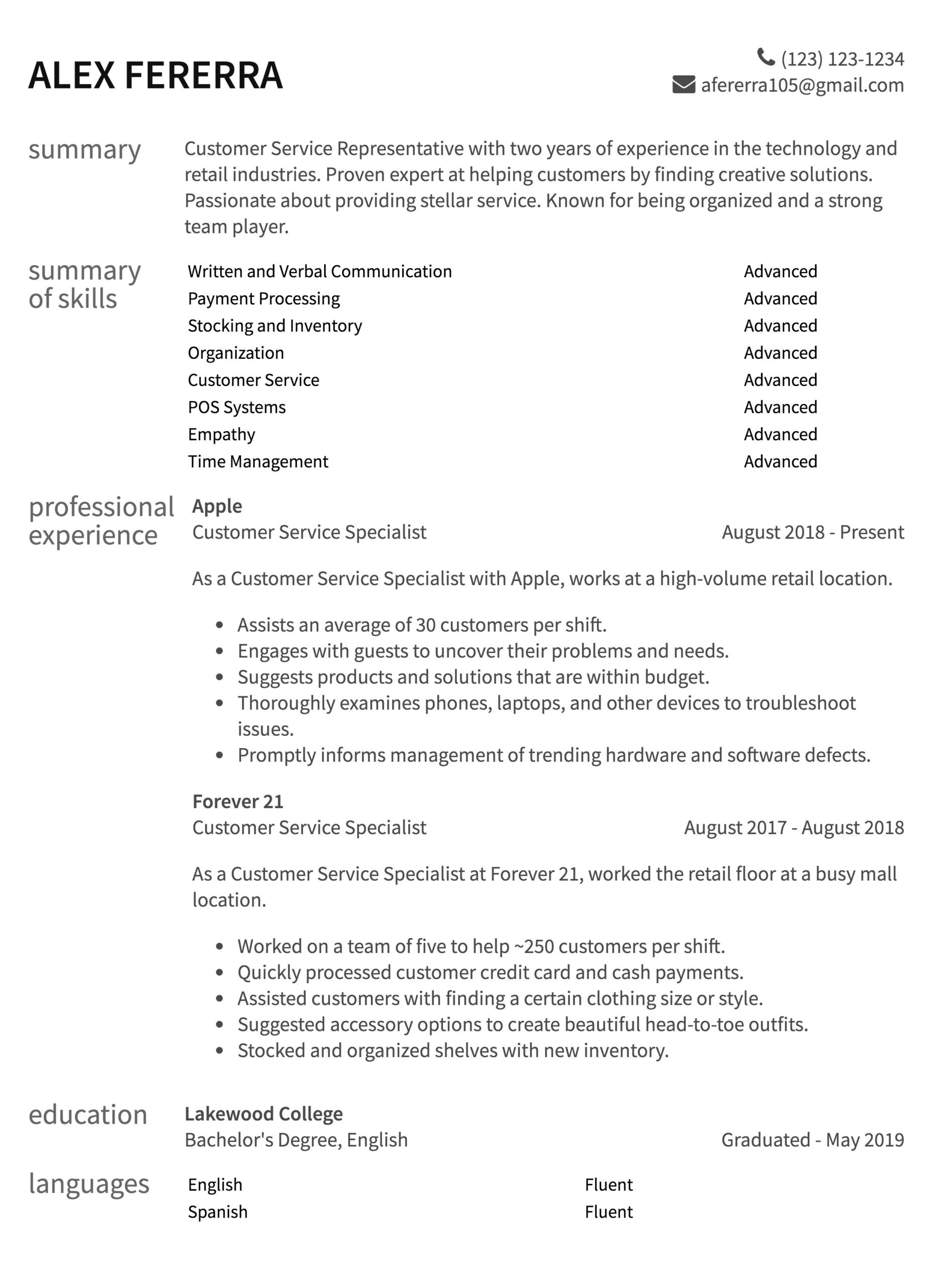 customer service resume samples to guide examples retail two year exp chief information Resume Resume Examples Customer Service Retail