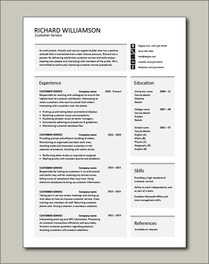 customer service resume templates skills services cv job description examples good Resume Customer Service Resume Samples Free
