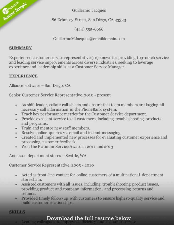customer service resume to write the perfect one examples build midlevel international Resume Build Resume Customer Service