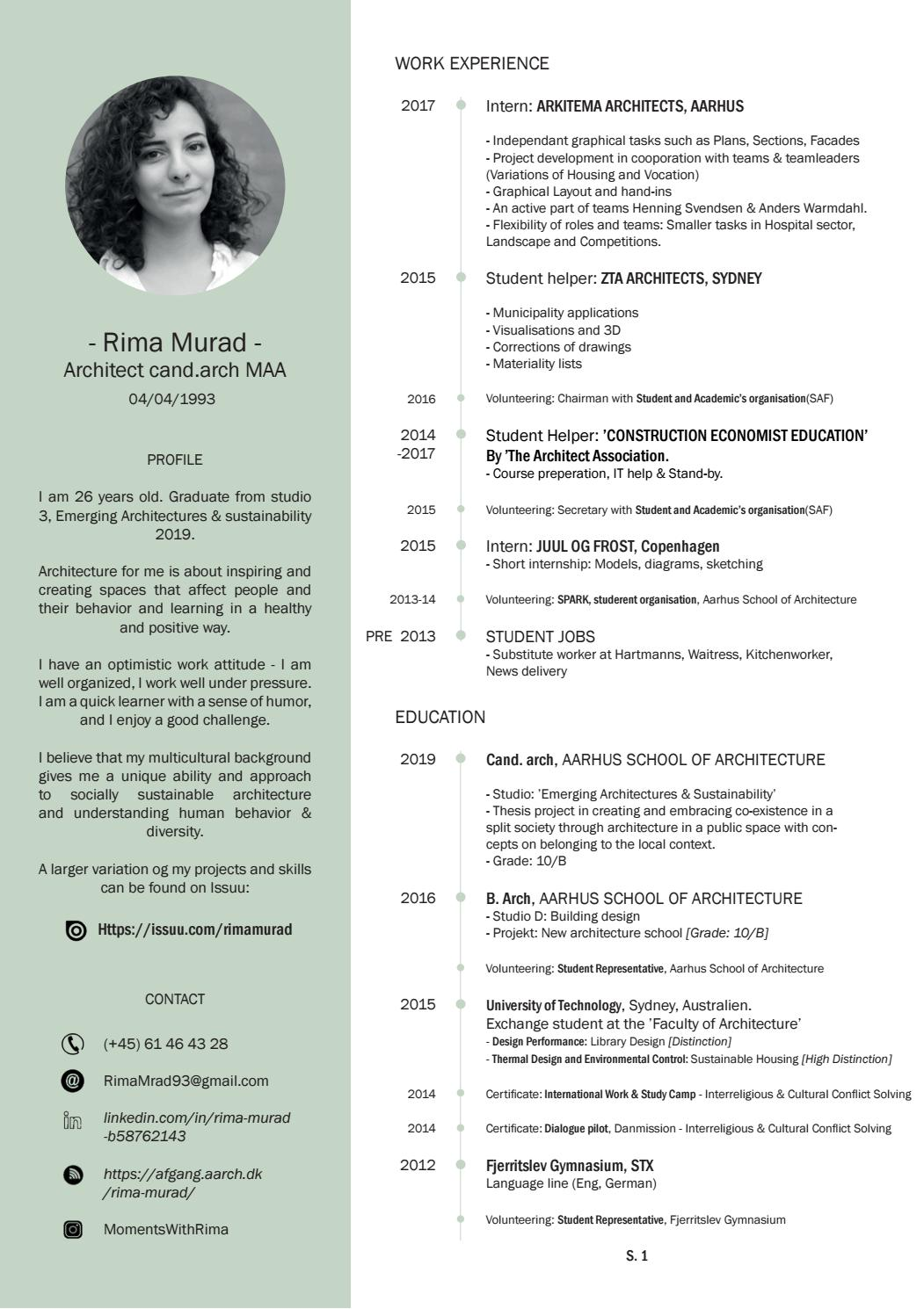 cv by rima murad issuu architecture graduate resume mba objective statement builder for Resume Architecture Graduate Resume