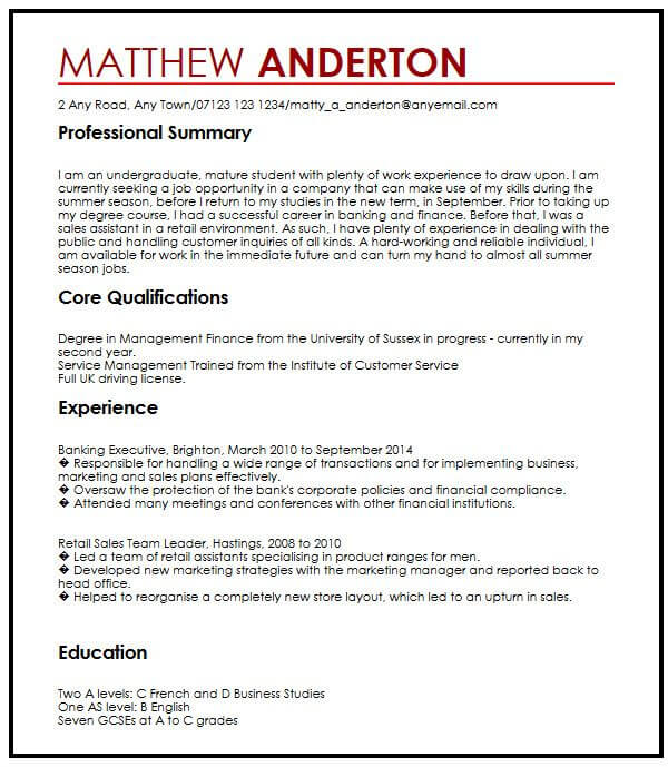 cv example for part time job myperfectcv sample resume applying summer expanded college Resume Sample Resume For Applying Summer Job