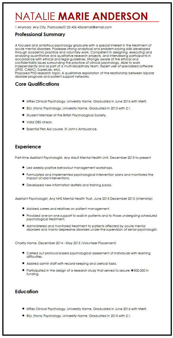 cv example for phd candidates myperfectcv resume application sample self employed format Resume Resume For Phd Application