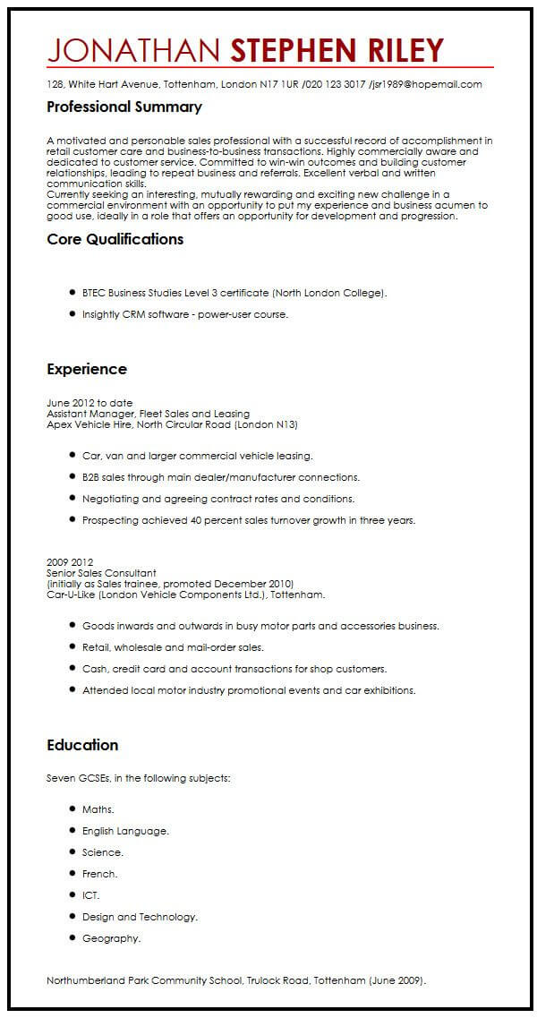cv example for summer job myperfectcv sample resume applying an unsolicited application Resume Sample Resume For Applying Summer Job