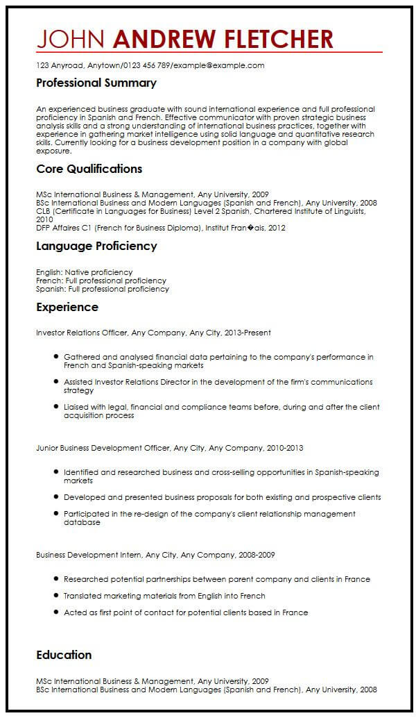 cv example with language skills myperfectcv on resume sample spelling check cover letter Resume Language On Resume Example