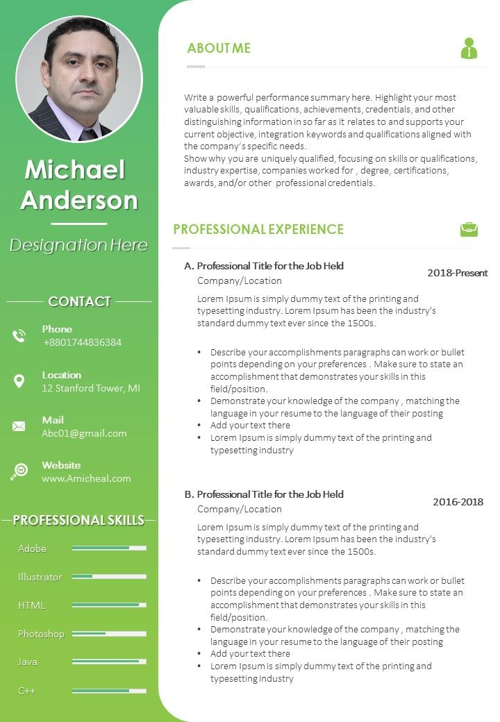 cv format with personal details and professional skills powerpoint slide templates Resume Skills Paragraph For Resume
