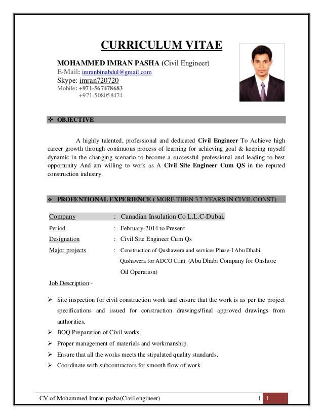 cv of mohammed imran pasha civil engineer curriculum vitae engin job resume format Resume Assistant Civil Engineer Resume