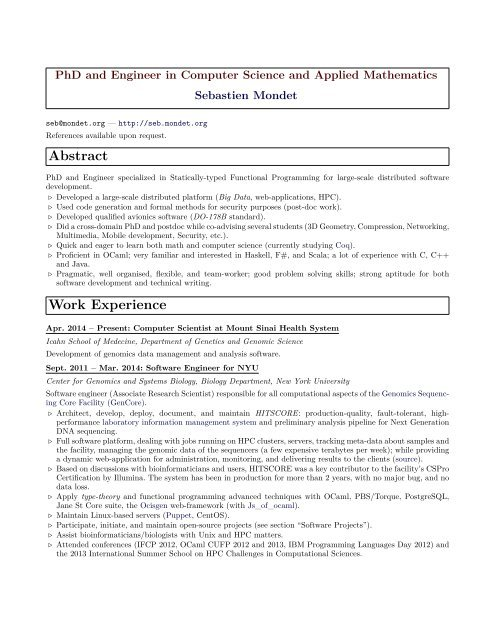 cv resume sebastien mondet for phd application financial analyst sample generic form Resume Resume For Phd Application