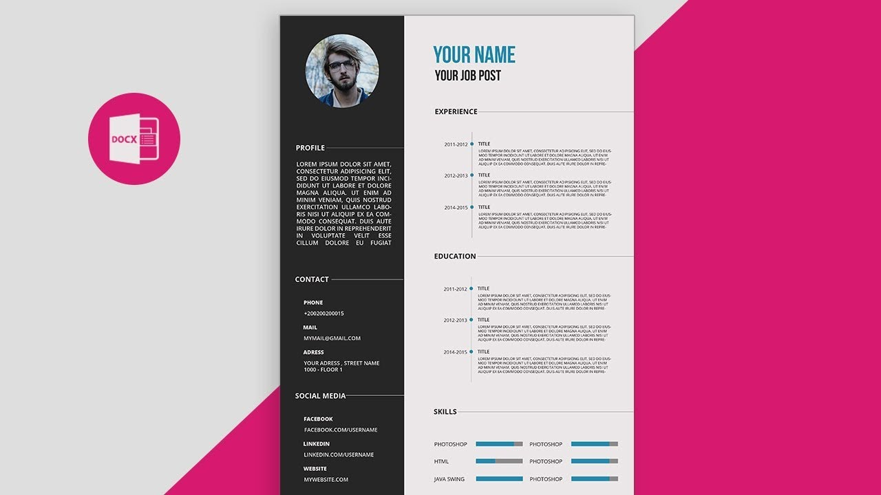 cv resume template design tutorial with microsoft word free pdf fix up professional Resume Free Cascade Resume Template