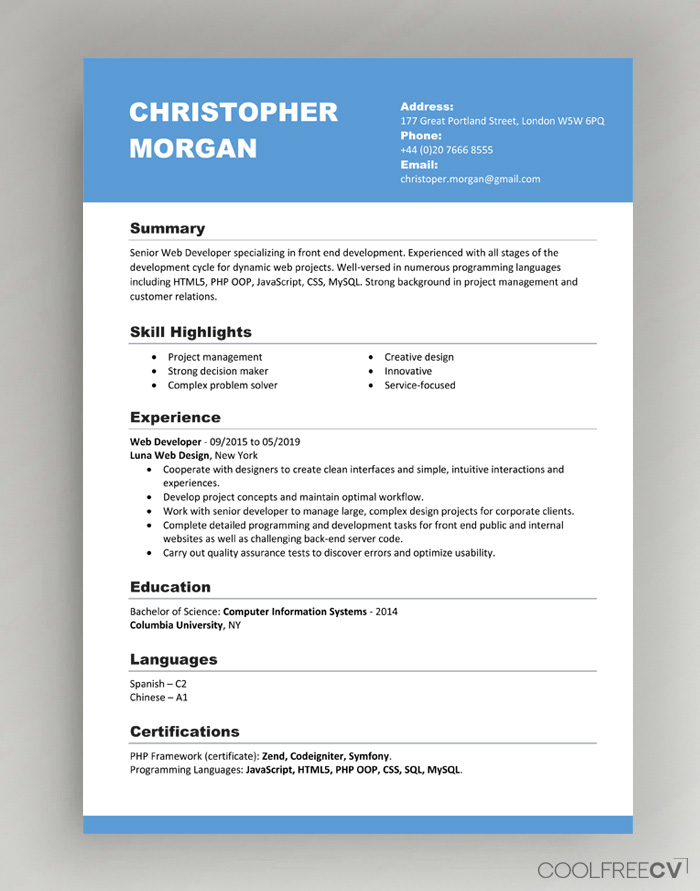 cv resume templates examples word front sample template best modern importance of Resume Resume Front Page Sample