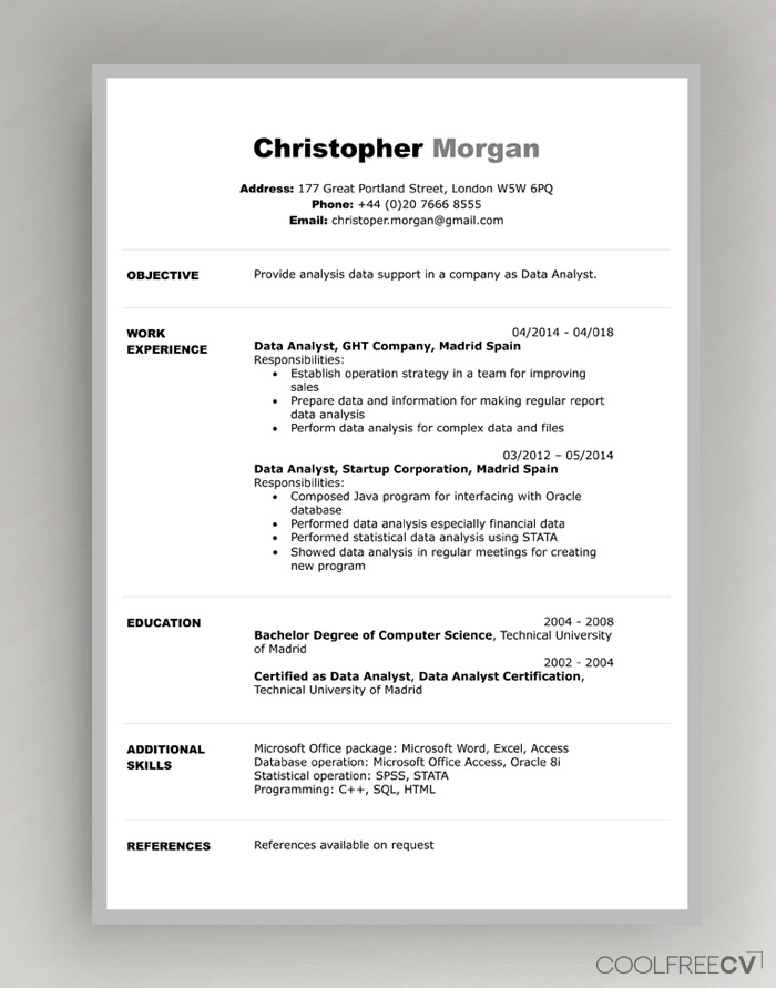 cv resume templates examples word student format file template cinematographer samples Resume Student Resume Format Word File