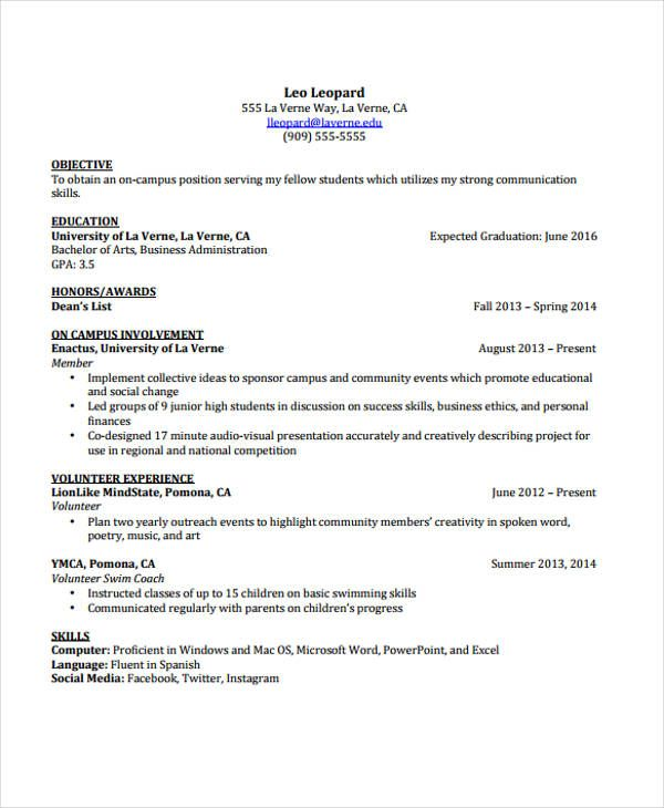 cv template student resume format for undergraduate graphic design skills quality Resume Resume For Undergraduate Student