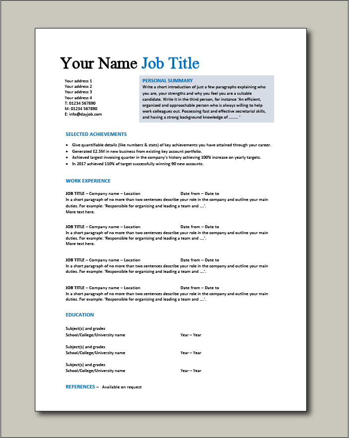 cv templates impress employers resume samples for job seekers free template your matches Resume Resume Samples For Job Seekers