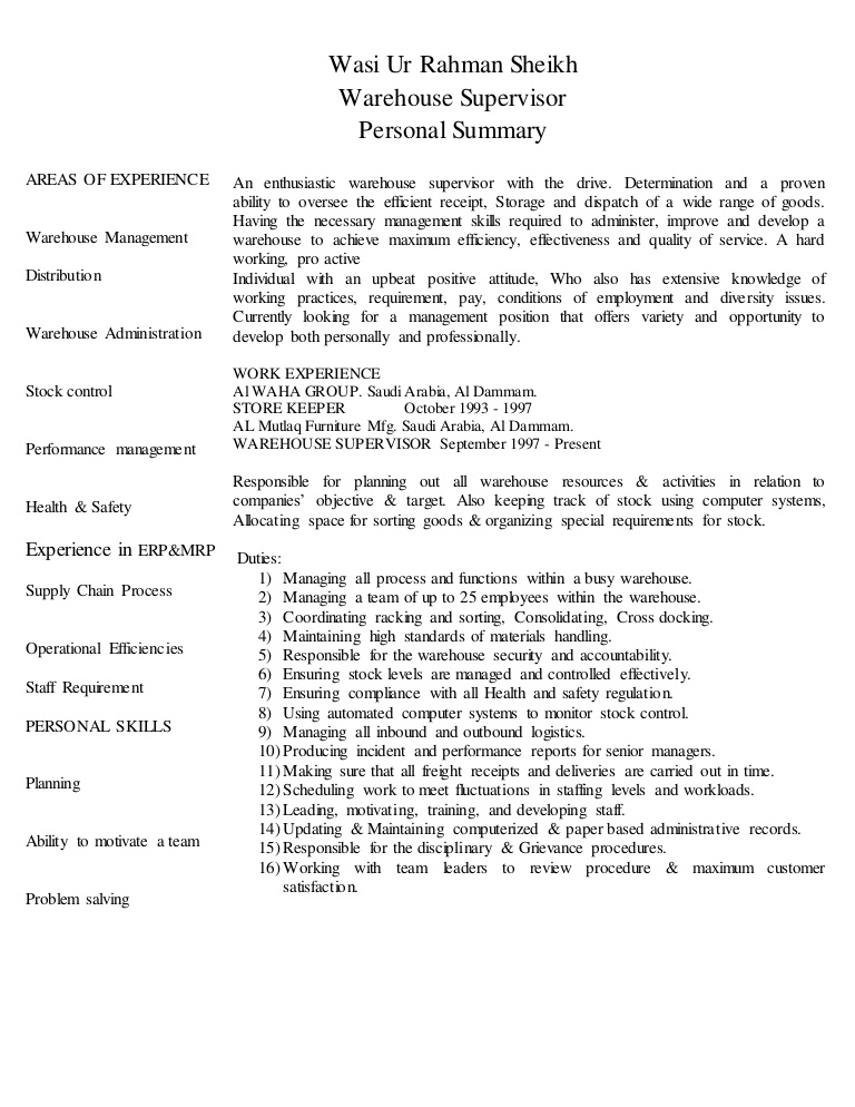 cv warehouse supervisor resume conversion gate01 thumbnail objetive first job examples Resume Warehouse Supervisor Resume