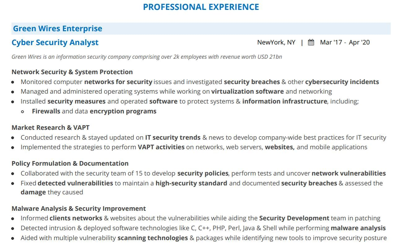 cyber security analyst resume guide with examples keywords professional experience Resume Cyber Security Resume Keywords