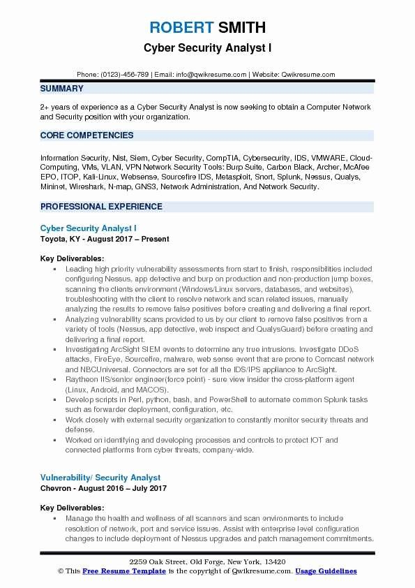 cyber security resume example unique analyst samples examples information police template Resume Information Security Analyst Resume