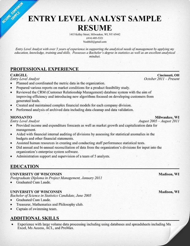 data analyst resume entry level unique to write for business position job samples Resume Business Analyst Resume Objective