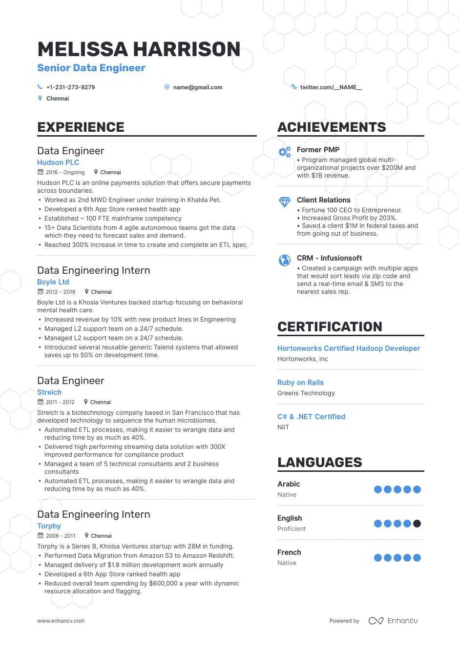 data engineer resume examples do and don ts for enhancv talend developer format food Resume Talend Developer Resume