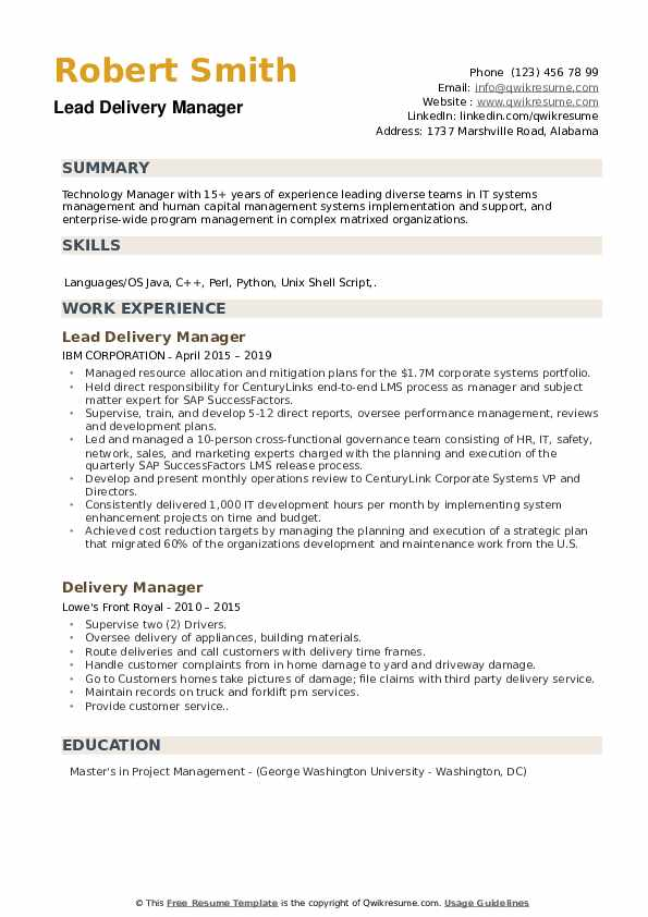 delivery manager resume samples qwikresume sap service pdf law school job interview Resume Sap Service Delivery Manager Resume