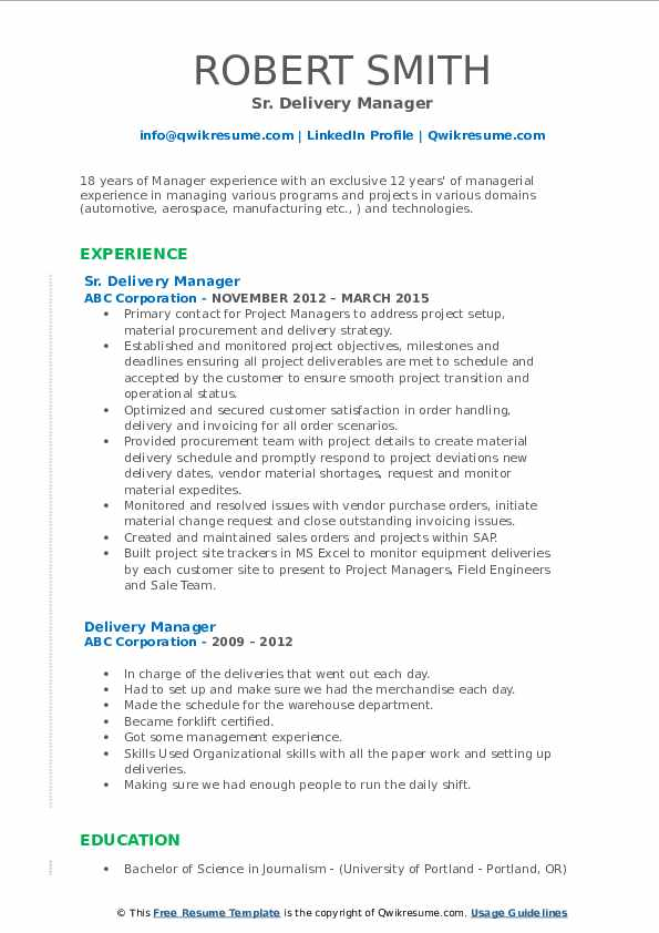 delivery manager resume samples qwikresume sap service pdf payday loan examples software Resume Sap Service Delivery Manager Resume