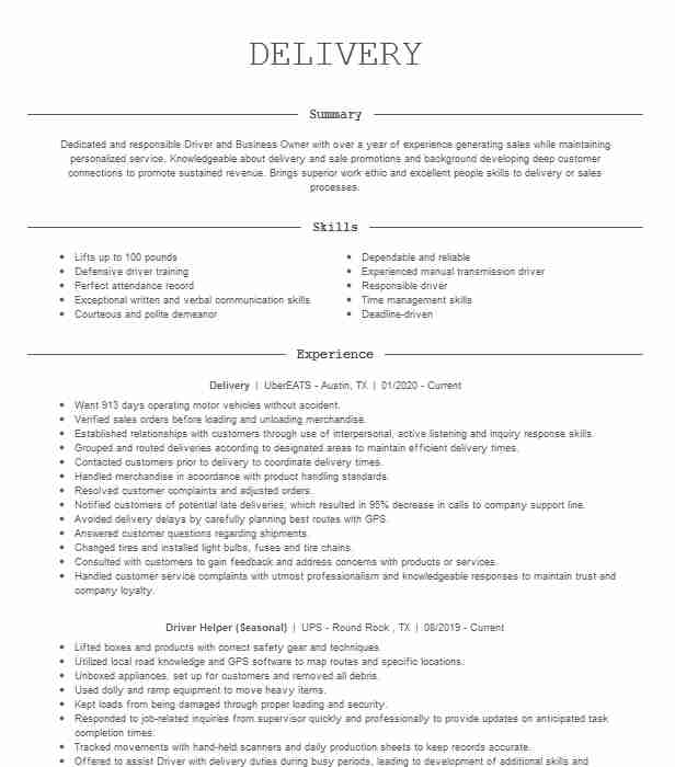 delivery resume example postmates burbank can you put on follow up after sending Resume Can You Put Postmates On Resume