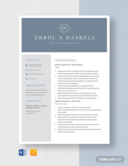 delivery supervisor resume cv template word apple mac professional help nyc profile for Resume Delivery Supervisor Resume