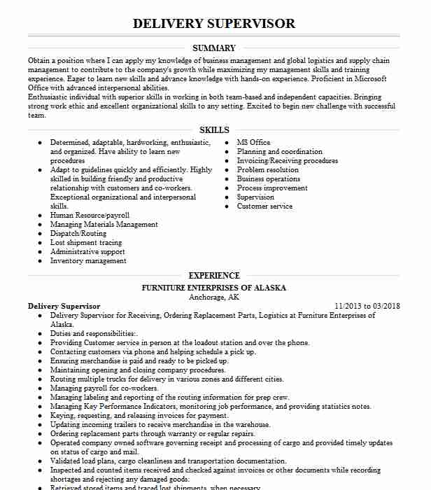 delivery supervisor resume example raymour and flanigan furniture west henrietta new Resume Delivery Supervisor Resume