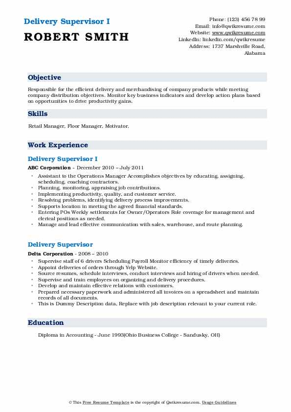 delivery supervisor resume samples qwikresume pdf cover letter verbiage microsoft word Resume Delivery Supervisor Resume