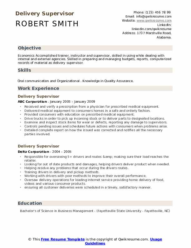delivery supervisor resume samples qwikresume pdf free templates word with photo Resume Delivery Supervisor Resume