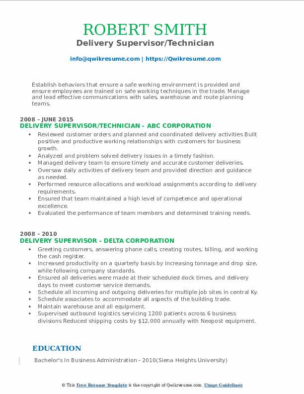 delivery supervisor resume samples qwikresume pdf microsoft word template editing Resume Delivery Supervisor Resume
