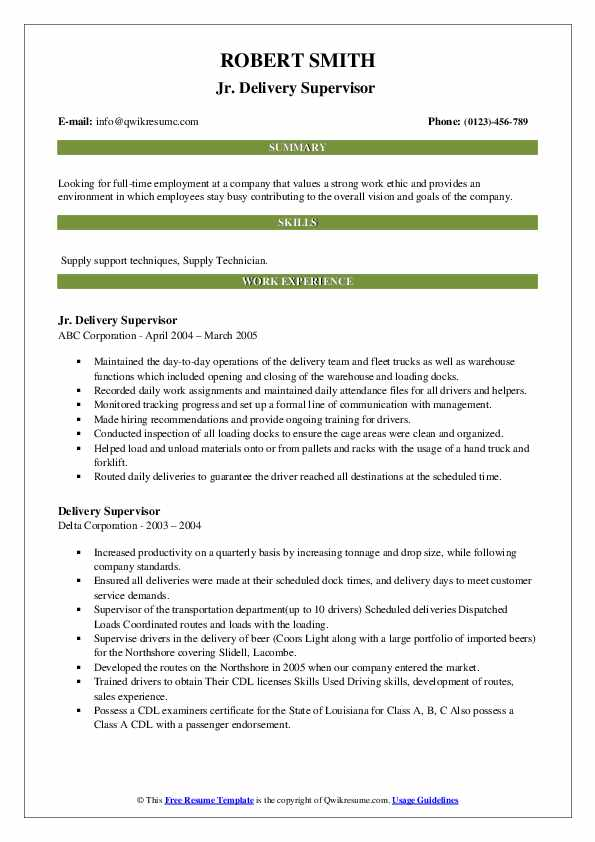 delivery supervisor resume samples qwikresume pdf montessori equity research template Resume Delivery Supervisor Resume
