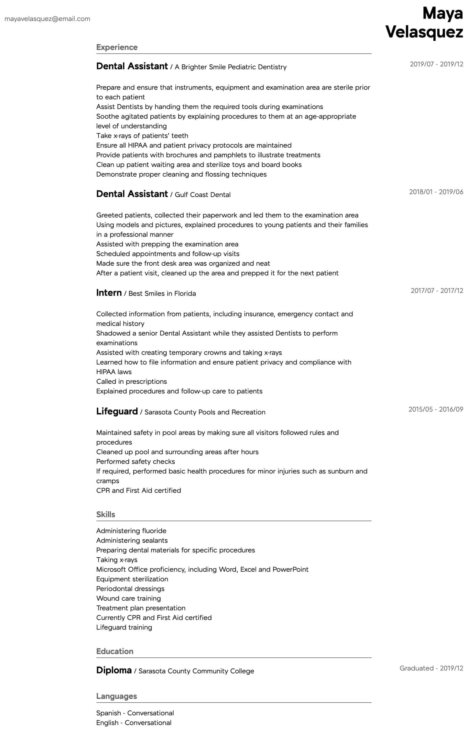 dental assistant resume samples all experience levels intermediate describe cashier Resume Dental Assistant Resume