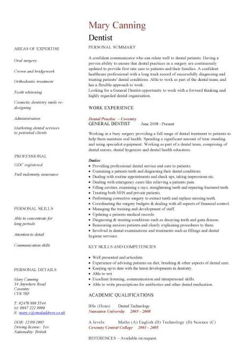 dentist cv sample cleaning filling extracting and replacing teeth associate resume pic Resume Associate Dentist Resume