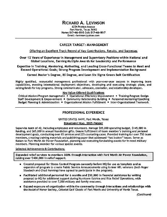 department manager resume example military examples military2a health coach donor Resume Military Resume Examples 2020