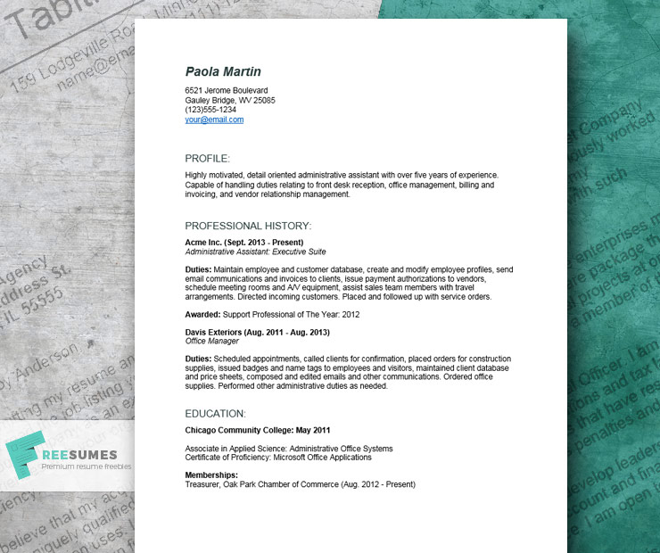 detailed resume example for an administrative assistant freesumes office duties websphere Resume Office Assistant Duties Resume