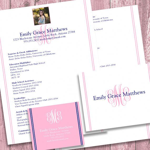digital printable sorority recruitment packet with photo and etsy resume social template Resume Sorority Social Resume Template